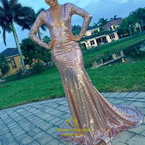 long sleeve deep  neck mermaid sequin long prom dress