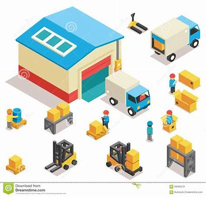 Distribution Warehouse Factory Vector Building Goods Icons