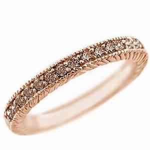 025ct CHAMPAGNE BROWN DIAMOND WEDDING BAND RING 14K ROSE