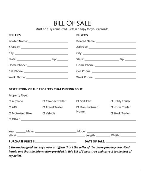 example of bill of sale sample bill of sale form in pdf 12 examples in pdf