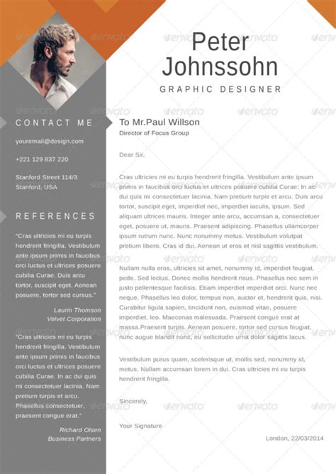 resume cover letter template word eps ai  psd