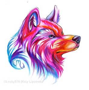 Colorful Wolf Head Designs