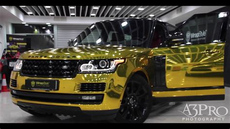 chrome range rover wrapstyle kuwait range rover gold chrome youtube