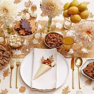 Gold, Leaves, Thanksgiving, Table, Decor