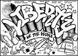 Graffiti Coloring Pages Words Wall Printable Street Grafitti Teenagers Liberty sketch template