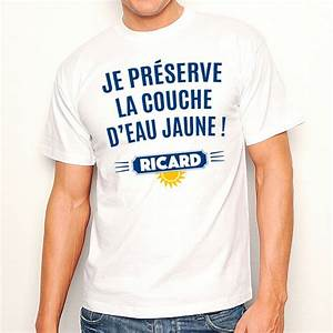 T Shirt Homme Blanc : t shirt homme blanc je pr serve la couche d 39 eau jaune ricard ~ Melissatoandfro.com Idées de Décoration