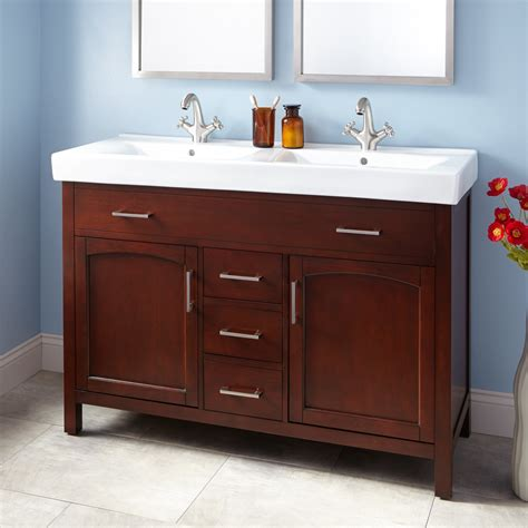 double trough sink bathroom vanity 48 quot bates double vanity walnut with double trough sink