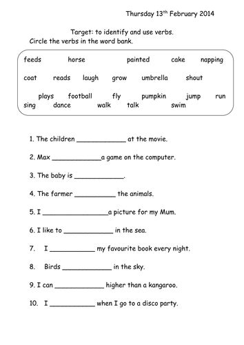 verbs worksheet year 1 by joop09 teaching resources tes