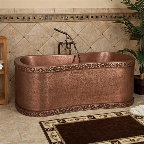 "72"" Ultro Rectangular Copper Freestanding Tub Bathroom"