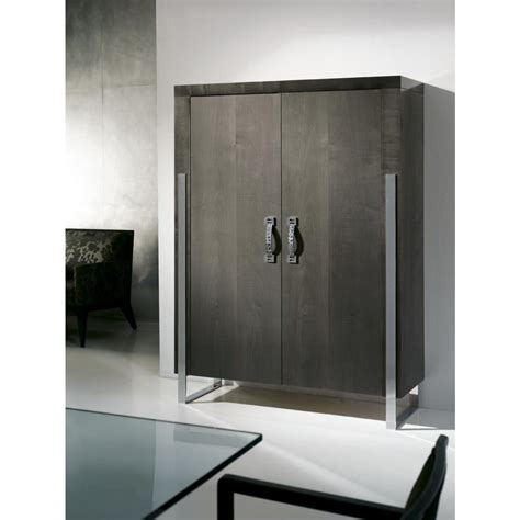 high gloss drinks cabinet   wooden doors stainless