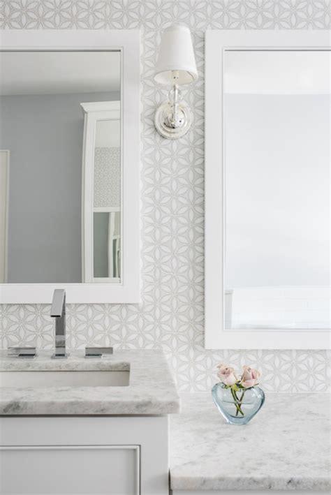 white  gray mosaic bathroom wall tiles transitional