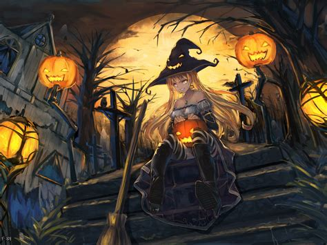 Anime Girl Witch Wallpaper Desktop Wallpaper Witch Art Anime Girl Halloween Hd