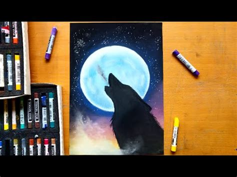 drawing  howling wolf  soft pastels leontine van