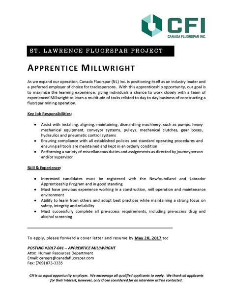 millwright apprentice cover letter electrician resume