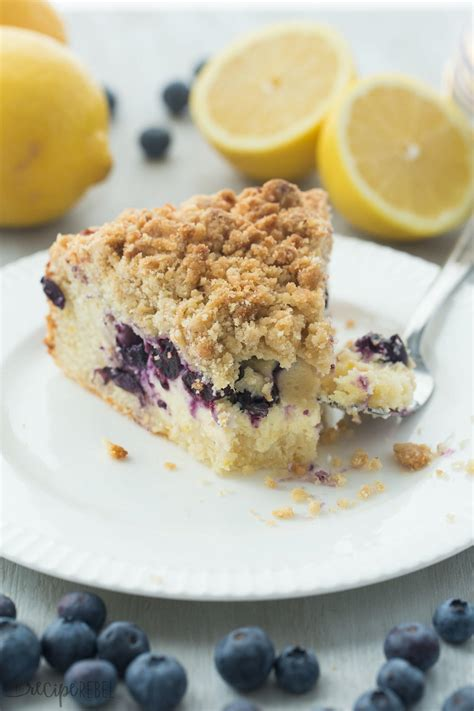 And with all these gray clouds during the winter months, starting the day with this little ray of sunshine really so if you are feeling the winter blues lately, whip up a pan of this mood enhancing lemon cream cheese coffee cake and feel happy!! Lemon Blueberry Cream Cheese Coffee Cake | RecipeLion.com