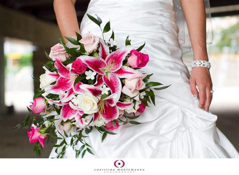 Hot Pink And White Cascade Bouquet Featuring Stargazer