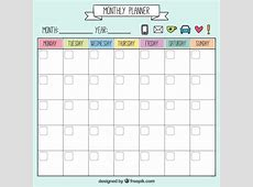Funny monthly planner Vector Free Download