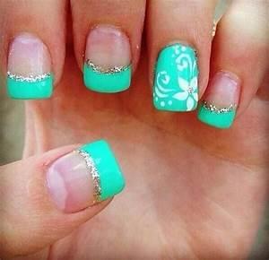 Teal Color Floral Nails Designs - SheIdeas