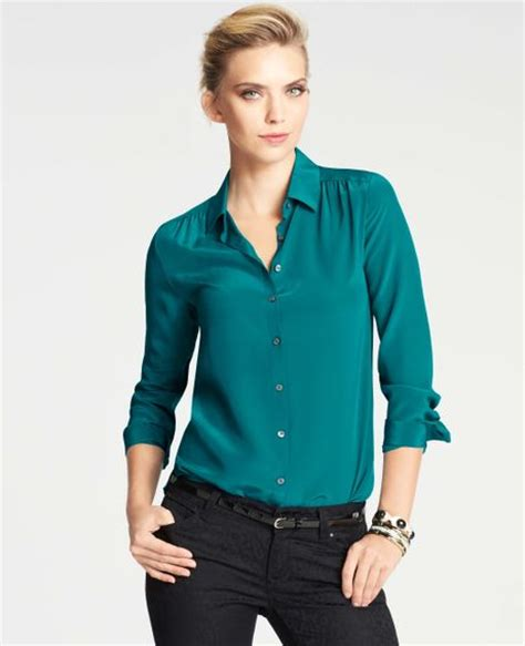 teal blouses silk blouse in blue teal sapphire lyst