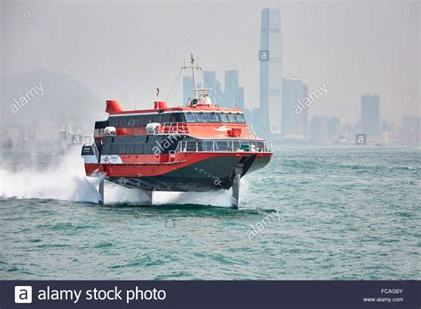 Hydrofoil Boat Works by A Turbojet Hydrofoil Ferry Leaves Hong Kong To Make Its