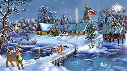 Christmas Winter Snow Landscape Desktop Village Church