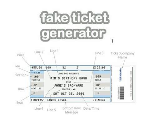 fake ticket generator create    novelty