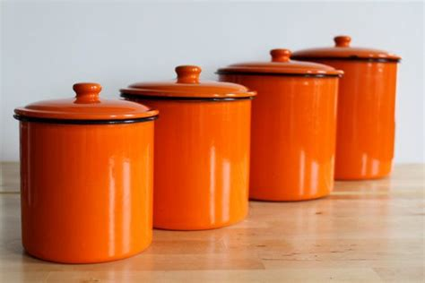 colorful kitchen canisters enamel orange canister set bright colorful 2341