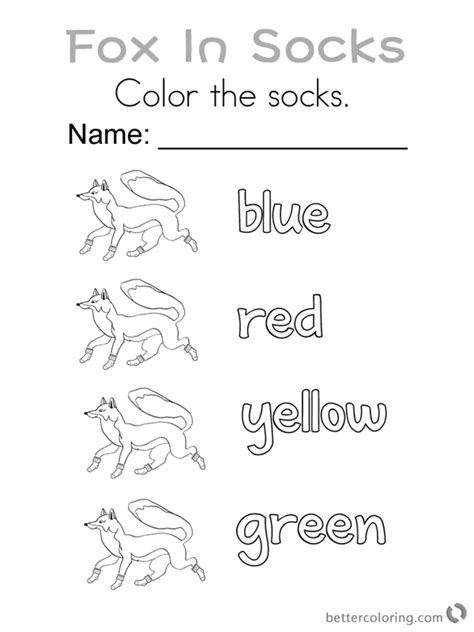 Fox in Socks by Dr Seuss Coloring Pages Color the Socks