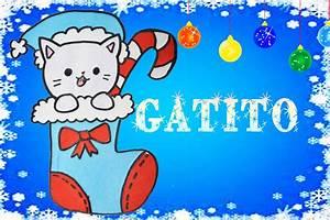 Dibuja un gatito navideño en una bota de dulces kawaii Aprender a Dibujar Dibujin Dibujado YouTube