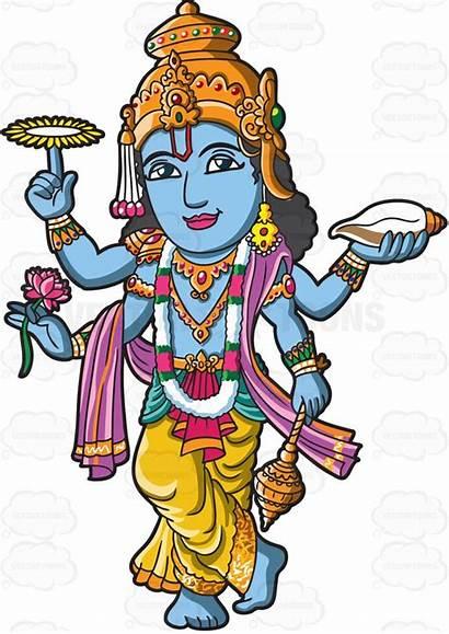 Hindu God Vishnu Clipart Cartoon Deities Vector