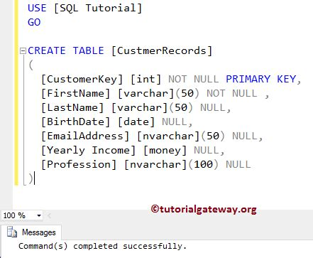 sql query to create table sql primary key constraint