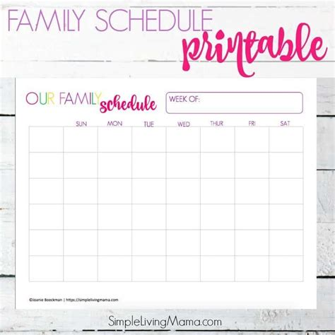 family weekly schedule printable simple living mama