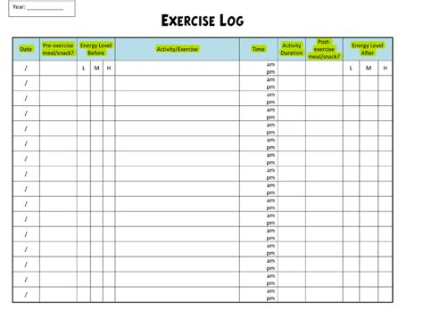 workout log template exercise log template 8 plus sheets