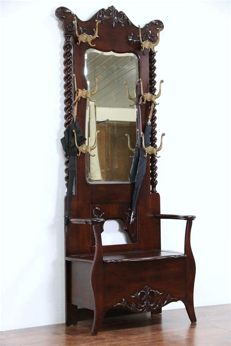sold victorian  antique hall stand bench mirror