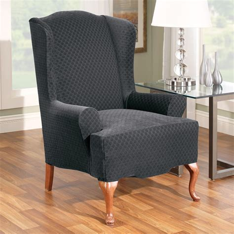wingback chair slipcovers canada black fabric back wing chair with arm rest plus four brown