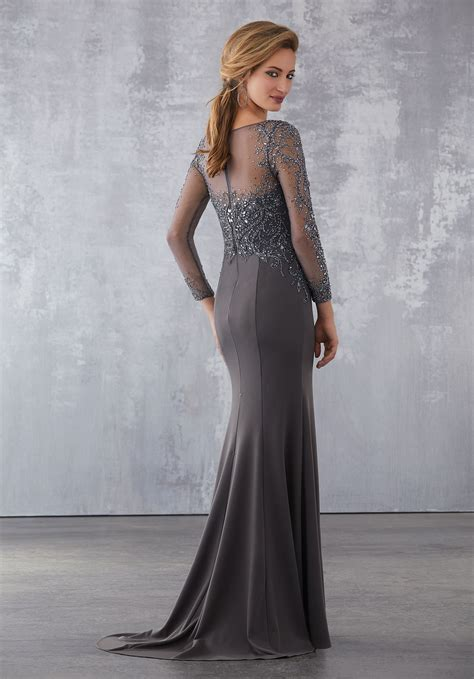 matte scuba special occasion dress  intricate beading