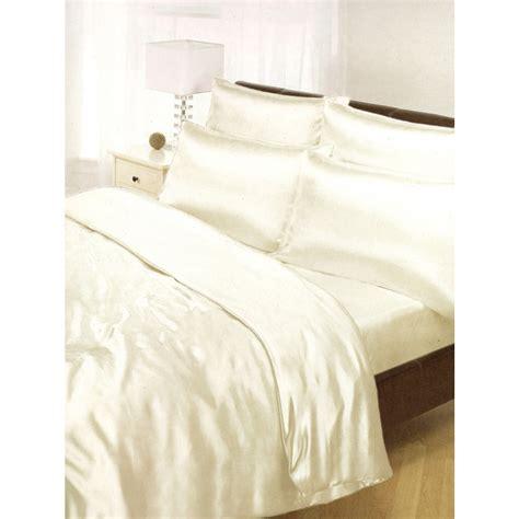 cream satin duvet cover fitted sheet  pillowcases