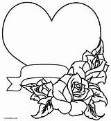 Coloring Roses Rose Hearts Printable Cool2bkids sketch template