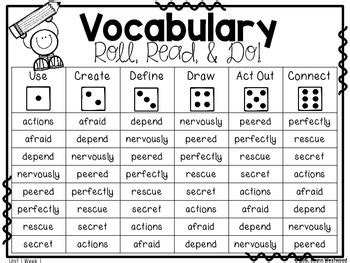 vocabulary roll read  mcgraw hill wonders