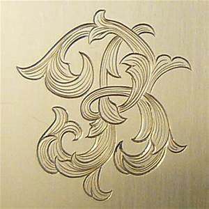 letter b monogram done in leaf script engraving With engraving letters on metal