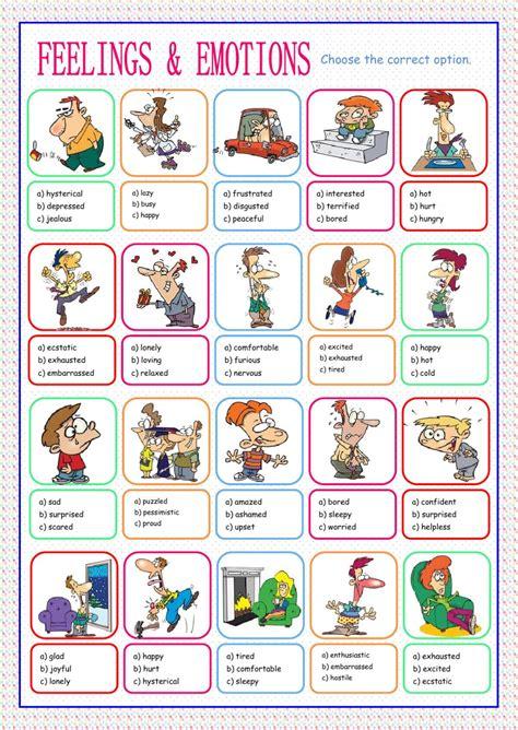 feelings  emotions multiple choice interactive worksheet