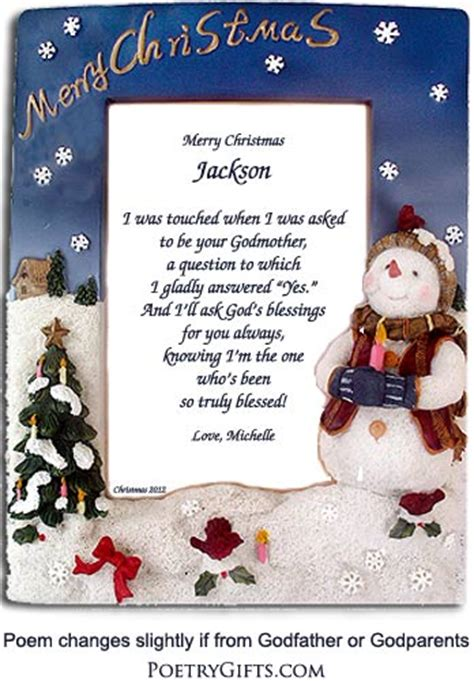 godchild gift christmas frame