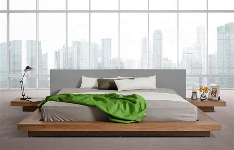 King Platform Bed With Upholstered Headboard by Modrest Opal Modern Low Profile Walnut And Grey