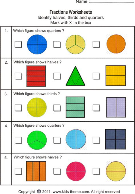 fractions worksheets for 3th graders fractions