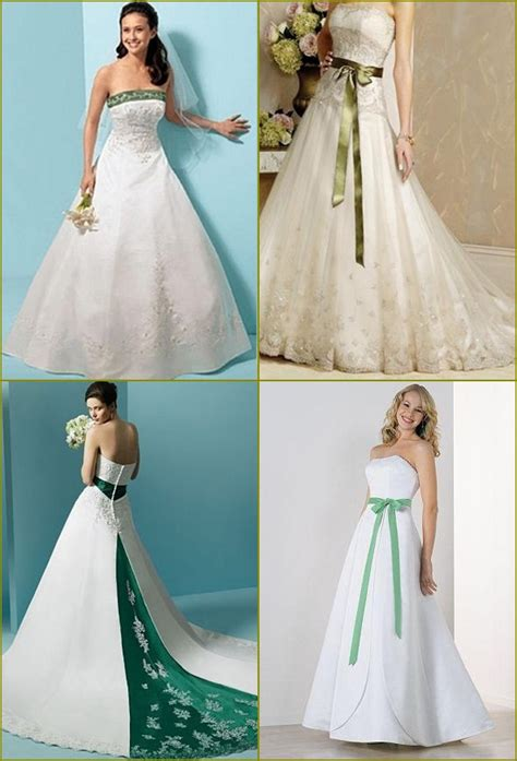 emerald green  white wedding dress