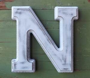 wooden letters large letter n shabby chic white distressed With large wooden letter n