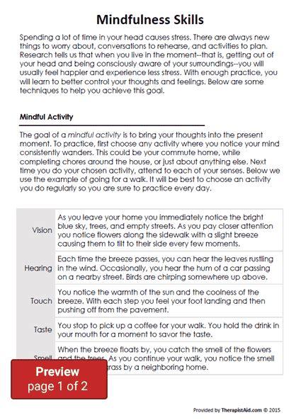 Dbt Mindfulness Skills (worksheet)  Therapist Aid