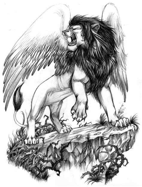 winged lion tattoo design