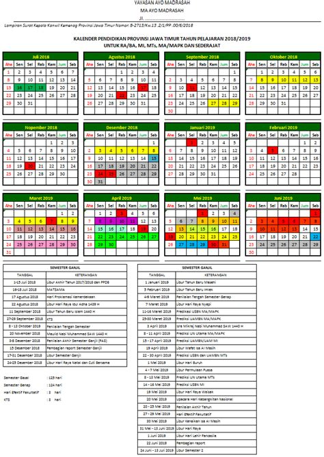 kalender pendidikan kemenag provinsi jawa timur