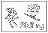 Coloring Skiing Pages Sport Colouring Skier Flashcards Number Comments Popular sketch template
